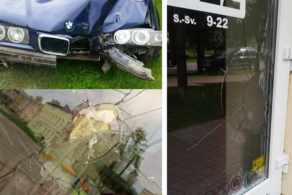 Неспокойные выходные в Резекне: битые стекла и машина в реке